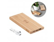 57909-2 - Bateria Portátil/Power Bank Wireless em Bambu