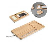 57911-2 - Carregador Wireless e Organizador de Mesa em Bambu