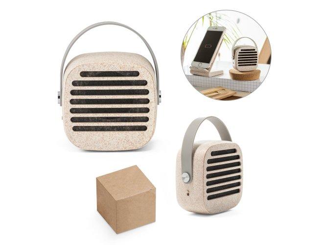 57936 - Caixa de Som Bluetooth Portátil em Fibra de Palha de Trigo e ABS com Alça em Silicone