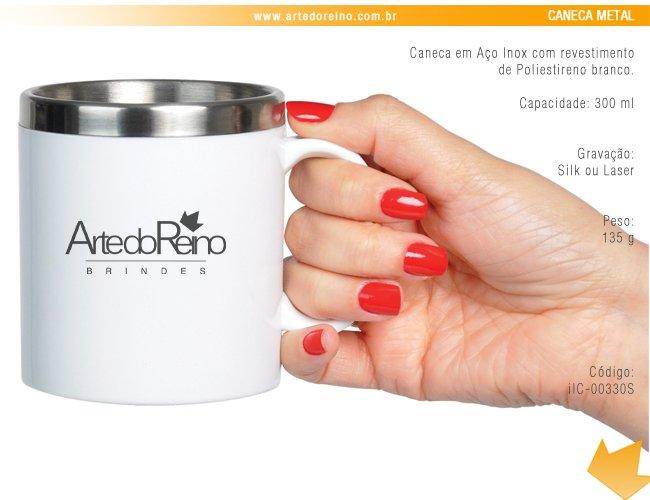 01ecac401 IC-00330S - Brinde Caneca em Aço Inox 300 ml com Revestimento de  Poliestireno Branco Personalizada
