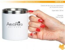IC-00330S - Brinde Caneca em Aço Inox 300 ml com Revestimento de Poliestireno Branco Personalizada