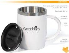 IC-00500S - Brinde Caneca em Aço Inox 400 ml com Revestimento de Poliestireno Branco Personalizada