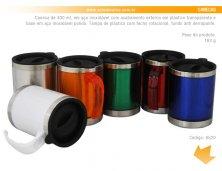 6520 - Brinde Caneca Térmica em Inox 400ml com Acabamento em Acrilico Transparente Personalizada