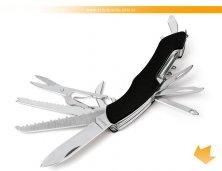 CN-00271S - Canivete de Metal e Alumínio Anodizado Preto 12 Funções