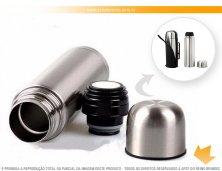 1115 - Garrafa Térmica 350 ml em Alumínio Personalizada com Capa em Couro Sintético