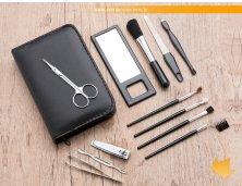 13504 - Kit Manicure e Pinceis para Maquiagem 12 Peças