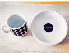 654 - Xícara Texas 65 ml em Porcelana com Pires Personalizada