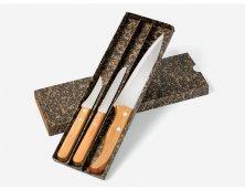 KF-00703 - Kit de Facas em Bambu/Inox - 3 Pçs