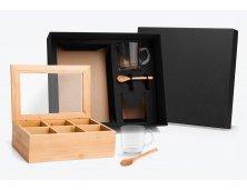 KT-90141 - Conjunto para Chá com Caixa em Bambu e Colheres - 5 peças