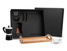 KT-90152 - Conjunto para Café com Bandeja em Bambu - 6 peças