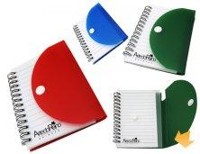 ARBA-12532 - Brinde Promocional Bloco de Anotações com Capa em Plástico Personalizado
