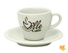 ARXC-0003 - Brinde Promocional Xícara de Porcelana Aline para Café com Pires 75 ml Personalizada