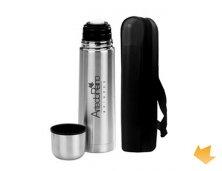 ARGT-1116 - Brinde Promocional Garrafa Térmica 500 ml em Alumínio Personalizada com Capa em Couro Sintético