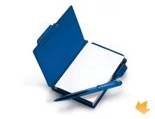 iLE-04003 - Brinde Bloco de Anotações em Poliestireno Azul com Caneta Personalizado