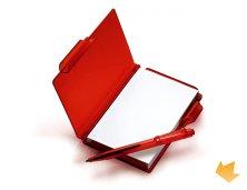 iLE-04004 - Brinde Bloco de Anotações em Poliestireno Vermelho com Caneta Personalizado