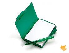 iLE-04005 - Brinde Bloco de Anotações em Poliestireno Verde com Caneta Personalizado